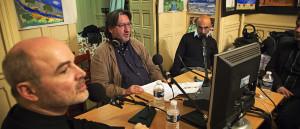 Durante la trasmissione Le lundis de la contemporaine su France Musique (12 maggio 2014) con Christophe Desjardins e Arnaud Merlin (foto di Mino Macina)
